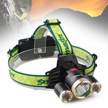 Rechargeable Cree 1xT6+2xQ5 LED 3000LM 3 Modes 3 LED Bulbs Headlamp Headlight TorchLight for Camping by 18650 Battery