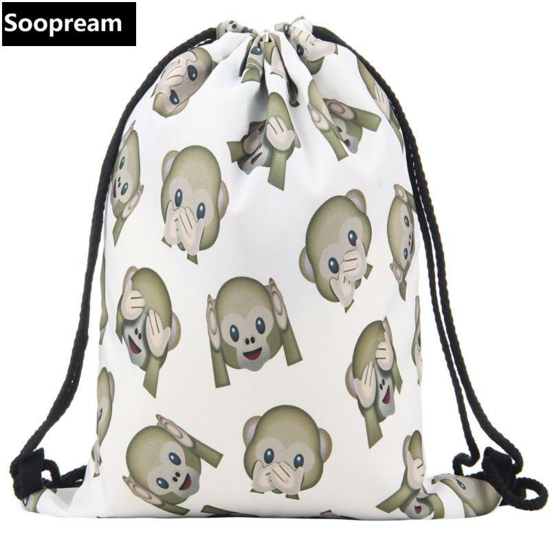 2016 hot emoji monkeys backpack 3D printing bags softback man women mochila feminina sunset palm drawstring bag mens backpacks<br><br>Aliexpress