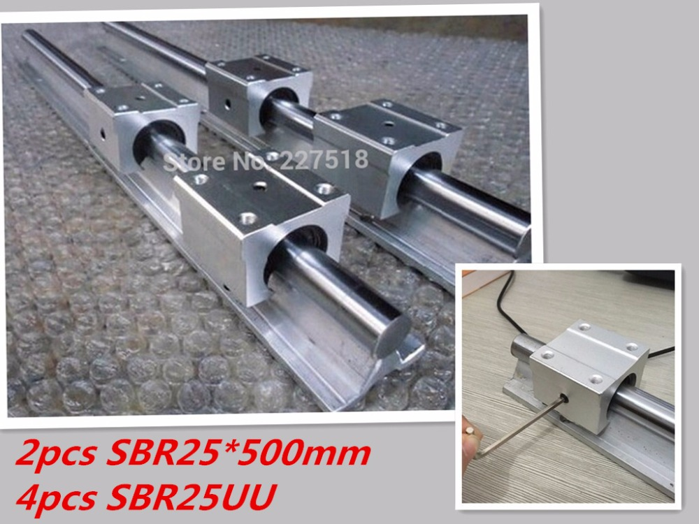 linear rail SBR25 500mm 2pcs and 4pcs SBR25UU linear bearing blocks for cnc parts 25mm linear guide<br>