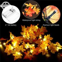 Hallowmas Party Decor Lamp 165 CM Fall Leaves 10 LED String Light Christmas Battery LED Fairy Light Autumn Leaf DC3V(China)