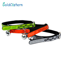 High Quality PU Leather Reflective Basic Print Dog Collars With Bell Cat Quick Release Leads Pet Suppliers Accessories(China)