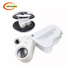 High Quality30X 60X LED Illuminated 9889 magnifier glass loupe Dual Lens lam Jewelry Appraisal tools magnifier(China)