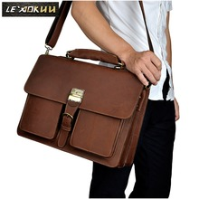 Cattle man bag Tote vintage crazy horse leather male briefcase commercial genuine leather Laptop Tote bag Tote 1031(China)
