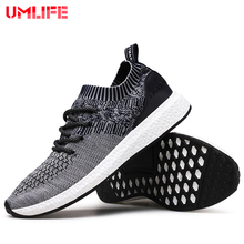 UMLIFE Running Shoes For Men's Mesh Breathable Sport Shoes Men Height Increasing Sneakers Black Male Light Comfort Shoes Sports(China)