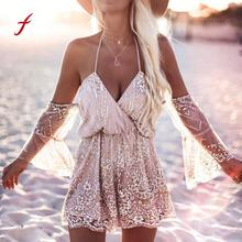 Buy Feitong Playsuits Women Shoulder Halter Long Sleeve Sexy Sequin Bodysuit Summer Beach Club Elegant Jumpsuit