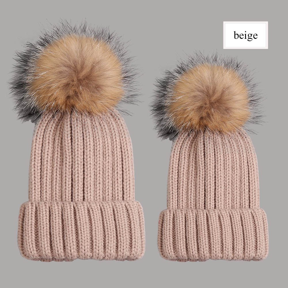 beanies with pompom thick beige