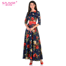 S.FLAVOR Women printing dress Autumn fashion Rose printing long vestidos Good quality Women Russian style casual autumn dress(China)