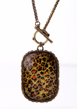 Vintage Leopard Print Resin Square Pendant Necklace Antique Gold Color Long Necklace Online Shopping India Jewelry(China)