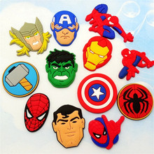 12pcs Animation Avengers Captain America Spiderman Soft Decoration Accessories DIY Croc Shoe Bag Iphonecase Gadgets kids gifts(China)