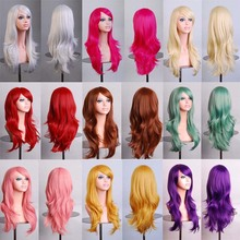 Hot 70cm long curly black/redpink/brown 12colors Anime Cosplay wig,High quality womens party kanekalon fibre synthetic hair wigs
