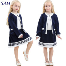 2017 Autumn Fashion Girls Clothing Sets Children's Navy Blue Short Jacket an + striped Skirts 2pcs suits kids formal clothes(China)
