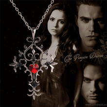 The Vampire Diaries necklace vintage cross pendant red heart gothic jewelry for men and women wholesale