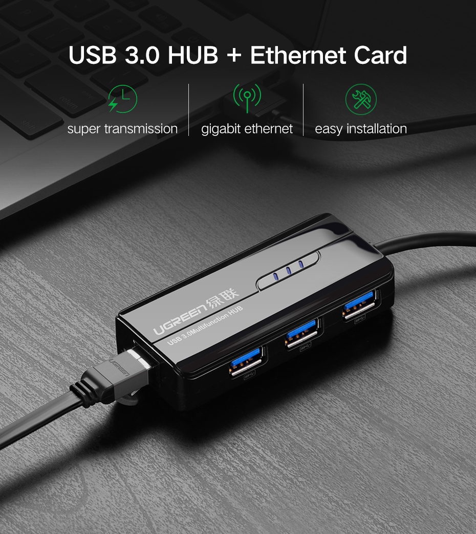 Ugreen USB 3.0 Ethernet Adapter USB 3.0 2.0 to HUB RJ45 Lan Network Card for Xiaomi Mi Box Nintendo Nintend Switch USB Ethernet 2