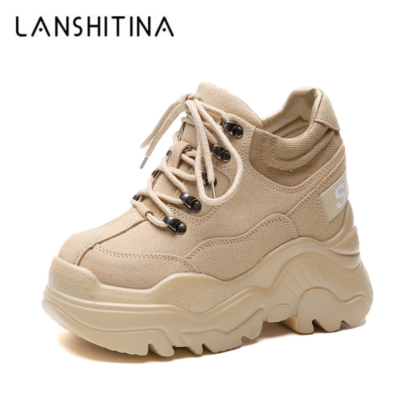 2020 Spring High Platform Boots 12CM High Heel Women Thick Sole Shoes Leather Wedge Sneakers Waterproof Breathable Casual Shoes