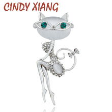 CINDY XIANG 2017 Opal And Rhinestone Wear Sunglasses Cat Brooches for Women Cute Sexy Cat Pins And Brooches Wedding Accessories(China)