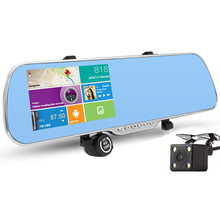 "5.0"" Car DVR Rearview Mirror Camera GPS Navigation Wifi Android Full HD 1080P Dual Lens Parking Rear View Camera Video Recorder"
