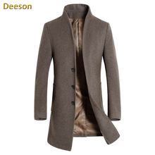 Man Woolen Overcoat Promotion New Full Regular Worsted Mandarin Collar Solid Single Breasted Male Jacket Standard Men Wool Coat