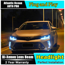 car styling For Toyota CAMRY headlights U angel eyes DRL 2015 For Toyota CAMRY LED light bar DRL Bi-xenon Double lens HID KIT(China)