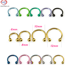 Showlove 10Pcs Titanium Anodized Circular Barbell Captive Bead Rings Mixed 10 Colors, Horseshoe Septum Nose Lip Rings Piercing