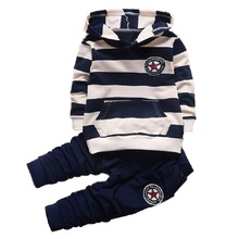 New Baby Boys/Girl Clothing Sets Striped Sport Suit Set Fashion Kid Hoodies+Pants Suit Set Toddler Striped Tracksuit Clothes