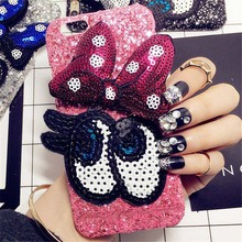 For iPhone 6 6S 7 Plus Luxury Glitter Girl's Fashion Bling Cute cartoon bowknot Big eye hard phone case Back Cover handmade DIY(China)