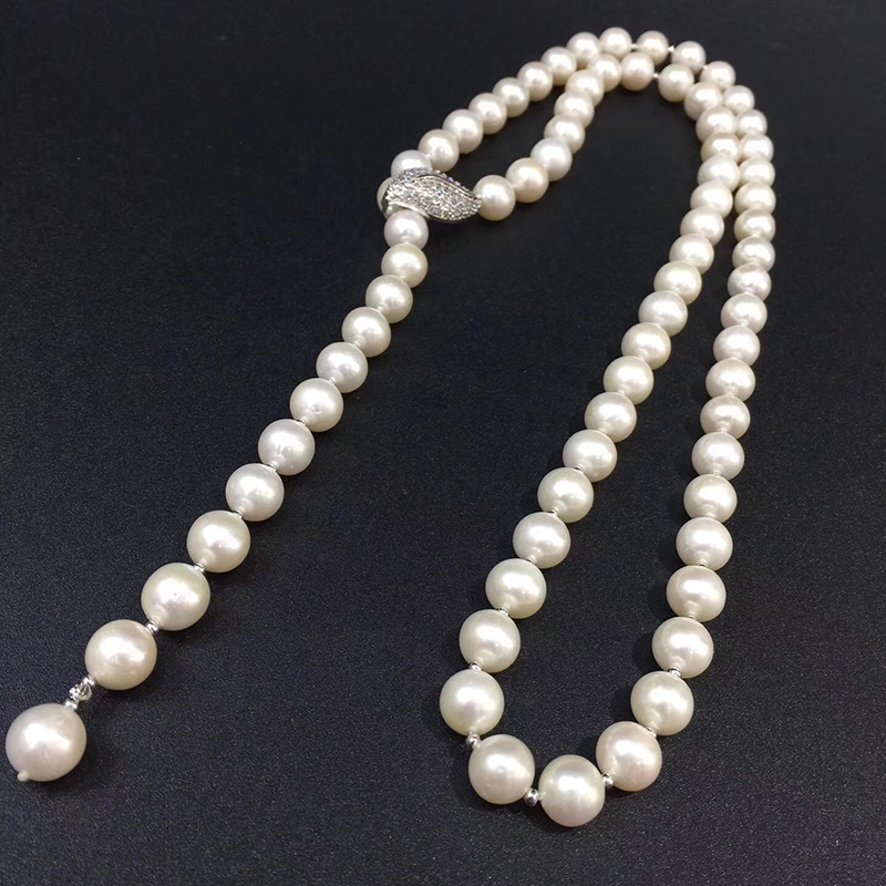 2019 spring 3 row strands AAA 9-10mm  white pearl necklace bracelet 14K