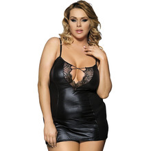 RA70030 Wholesale Nightwear Plus Size Leather Chemise Black Nightdress With Dress And G string Fishnet Women Pajamas Sleepwear(China)