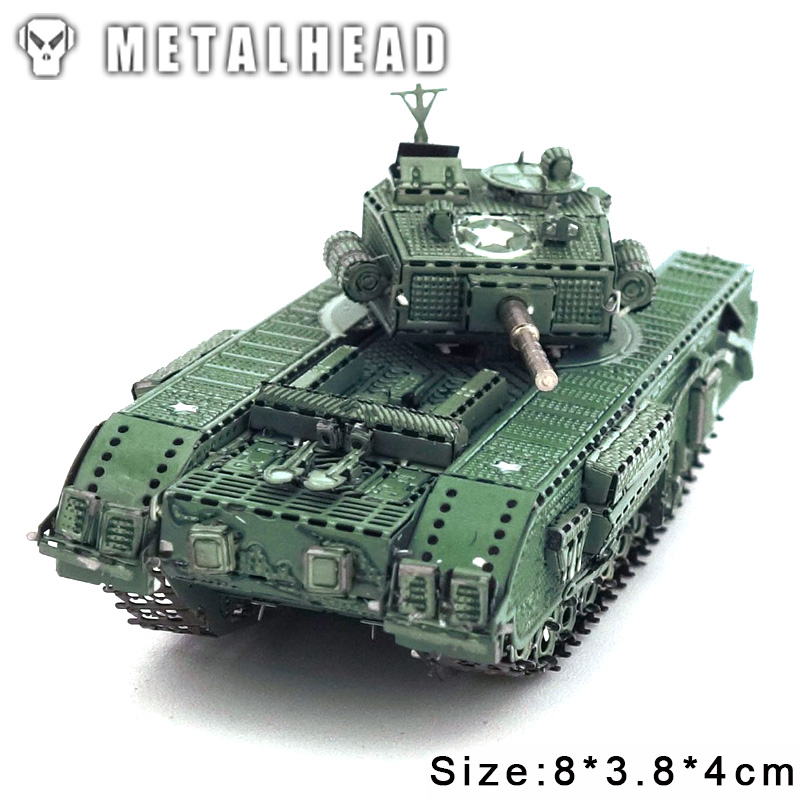 Color Churchill Tank 3D DIY Stereoscopic Metal Puzzle Nano-dimensional Assembling Model Birthday Gift Decoration Collection Toy 1