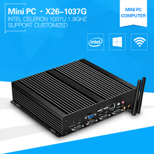 Newest 1037u Industrial Mini PC X26-1037G One Lan 4*RS232 8*USB Industrial COMPUTER  Thin Client all-day Using 4G Ram