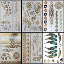 6 PCS/ lot Hot Flash Metallic Waterproof Temporary Tattoo Gold Silver Tatoo Women Henna Flower Taty Design Tattoo Sticker(China)