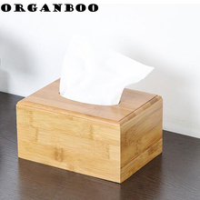 ORGANBOO 1PC Fashionable simple bamboo tissue box storage box living room pumping paper box pure natural materials