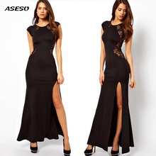 Long Maxi Dress Women lace Dress Sexy Party Dress Womens Clothing Black Halter Backless Cut Out Slit Dress