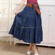 Free Shipping 2017 New Fashion Plus Size Denim Summer Jeans Long Maxi Skirts With hole Elasitc Waist Blue A-line Pleated Skirts