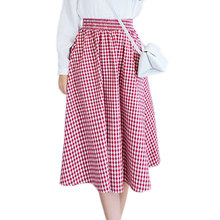 2017 Fashion Black Red Blue Classic Plaid Loose Summer Elastic Waist Midi Skirt Women Pleated Skirts High Waist Large Size
