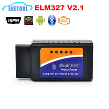 New OBD2 ELM327 Bluetooth V2.1 Wireless OBD/OBDII Diagnosis ELM 327 V2.1 Works For Android/PC Supports 7 Protocols Free Shipping