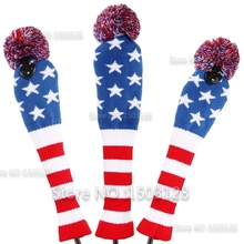 Golf New 3Pcs 1# 3# 5# One Set Stars & Stripes Wool Knit Pom CoversGolf Clubs Set Driver 3# 5# Fairway Wood headcovers