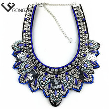 sell well latest big-name design Handmade String crystal beads fashion necklaces & pendants Women Fashion Statement Necklaces
