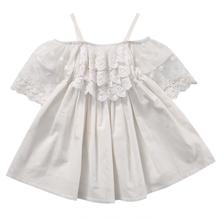 Summer 2017  Kids Girls Summer Dress Off-shoulder Ruffles Lace Dresses Solid White Baby Girl Clothes Princess Costume