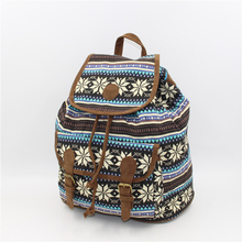 2017 national wind print canvas draw with shoulder bag backpack bohemian wind travel bag female(China)