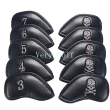 10Pcs/Set Thick Pu Synthetic Leather White Black Skull Golf Iron Club Headcover Iron Head Cover