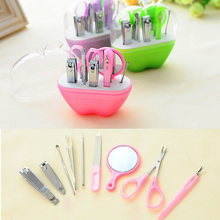 ree Shipping 9pcs Manicure Set Manicure Pedicure Set Nail Clippers Scissors Grooming Kit(China)
