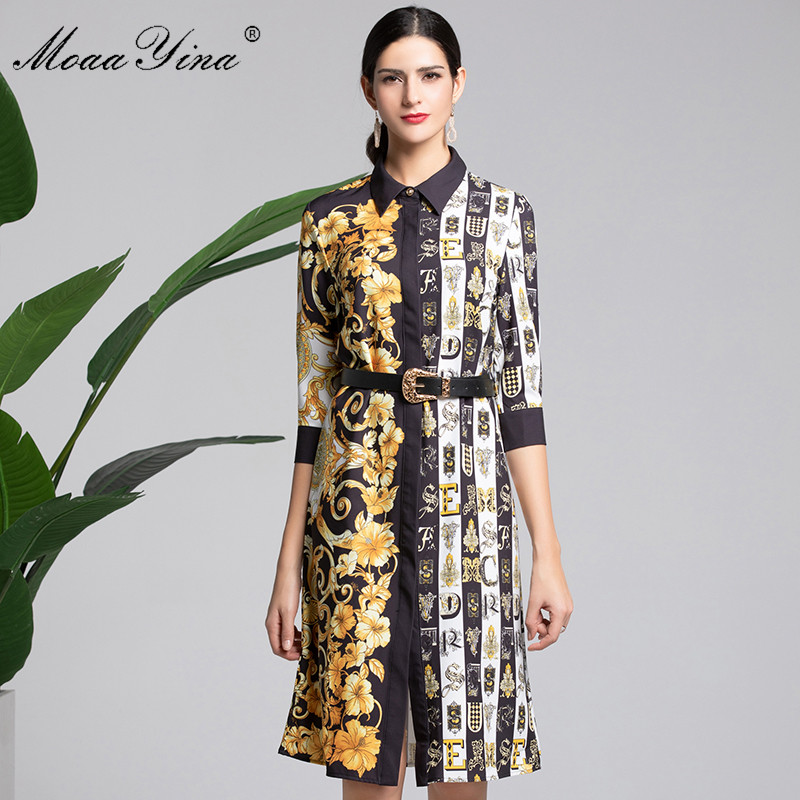 MoaaYina Fashion Designer Runway Dress Summer Women's Half sleeve Vintage letter Print Belt Slim Elegant Dress High Quality