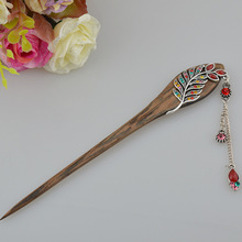 Charming fox Chinese wood Hand-carved Hair stick with natural fragrance Handmade vintage Women jewelry Gift for female
