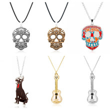 Movie Jewelry Coco Figure Pixar Guitar Necklace Miguel Riveras Skull Pendant Necklace Wholesale/Retail(China)