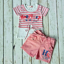 Summer Fresh Style Comfortable Pink Girl Clothing Set Stripe Kids Wear Clearance CS40322-1(China)