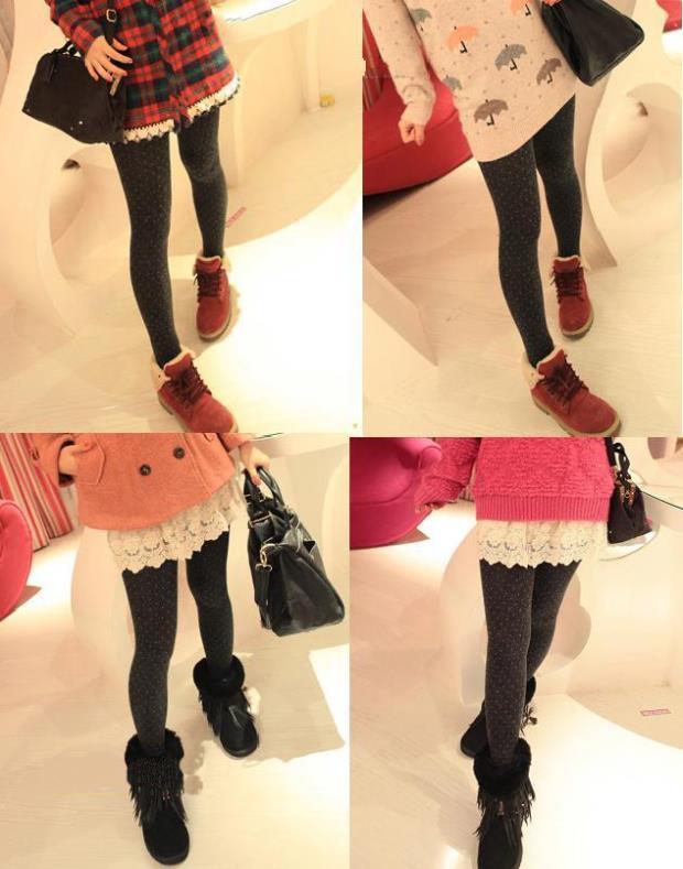 Women's Cotton Wool Leggings, Thicker Knitted, Sparkling Dot Design Autumn Legging 4