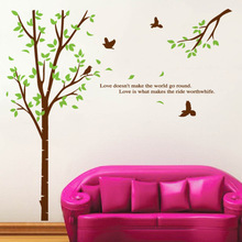 Green Tree Wall Art Mural Decor Birds in the Forest Wallpaper Decal Poster Love Doesn't Make the World Go Round Wall Quote Decal(China)