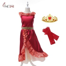 MUABABY Girl Summer Dress Elena of Avalor Princess Costume Children Girl Elena Dress Cosplay Kids Ruffles Party Dancing Dress(China)