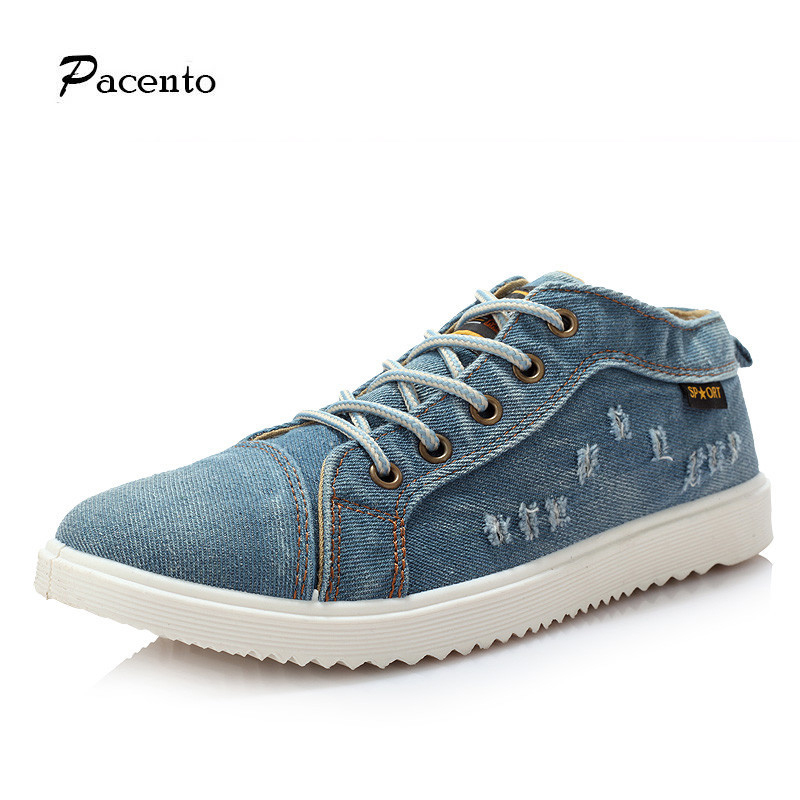 2016 PACENTO Men Denim Canvas Shoes High Top Men Lace-up Flats Male Spring Autumn Shoes Casual Patchwork Shoe for Man Chaussure<br><br>Aliexpress