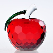 40mm Red Cut Crystal Apple Paperweight Glass  Paperweight Fruit Crafts Gifts Art&Collection Christmas Home Wedding Decoration